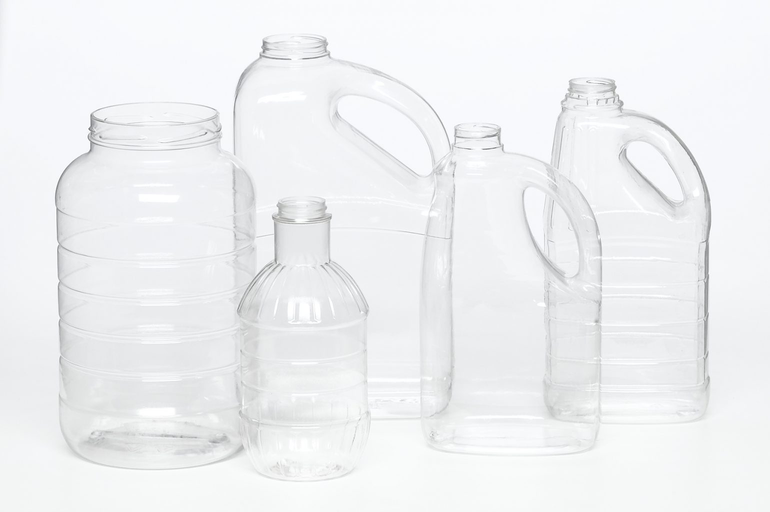 various sized food safe clear plastic containers with screw tops for food and beverage