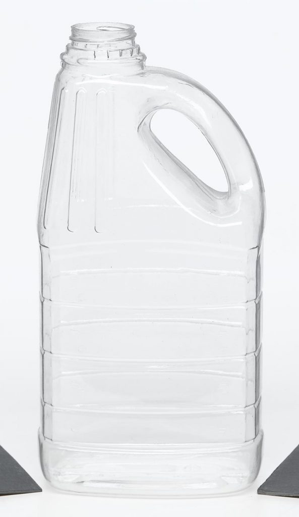 PET clear plastic jug with handle, screw top and ridges