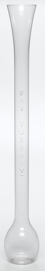 food and beverage extra tall clear drinking glass with Fat Tuesday embossed on the side food safe