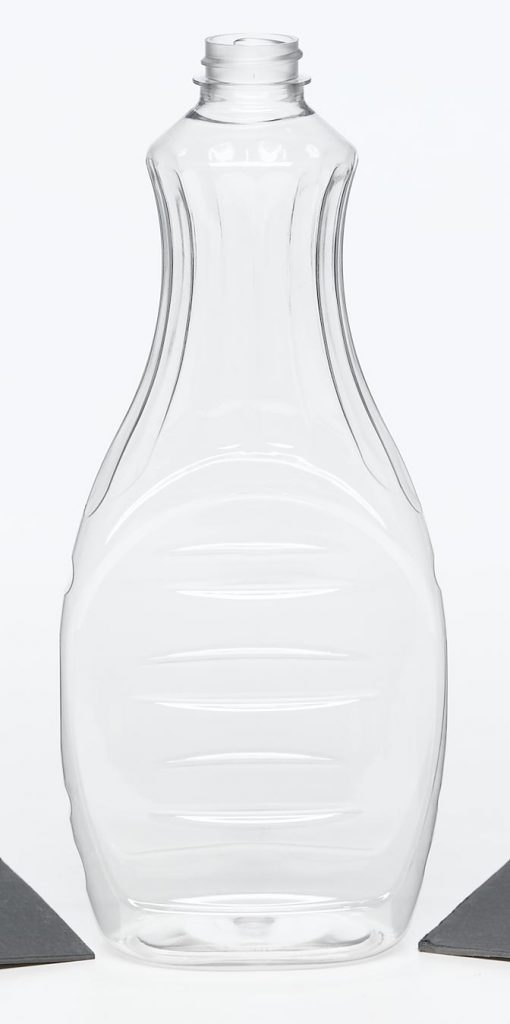 PET clear plastic syrup bottle with ridges and screw top