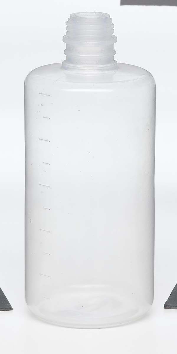 medical clear plastic bottle with screw top and measuring marks