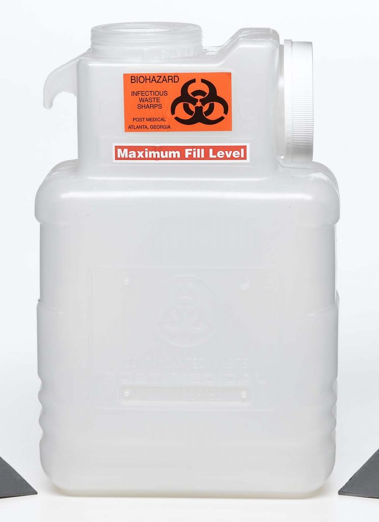 medical waste dispensing white plastic barrel for infectious waste