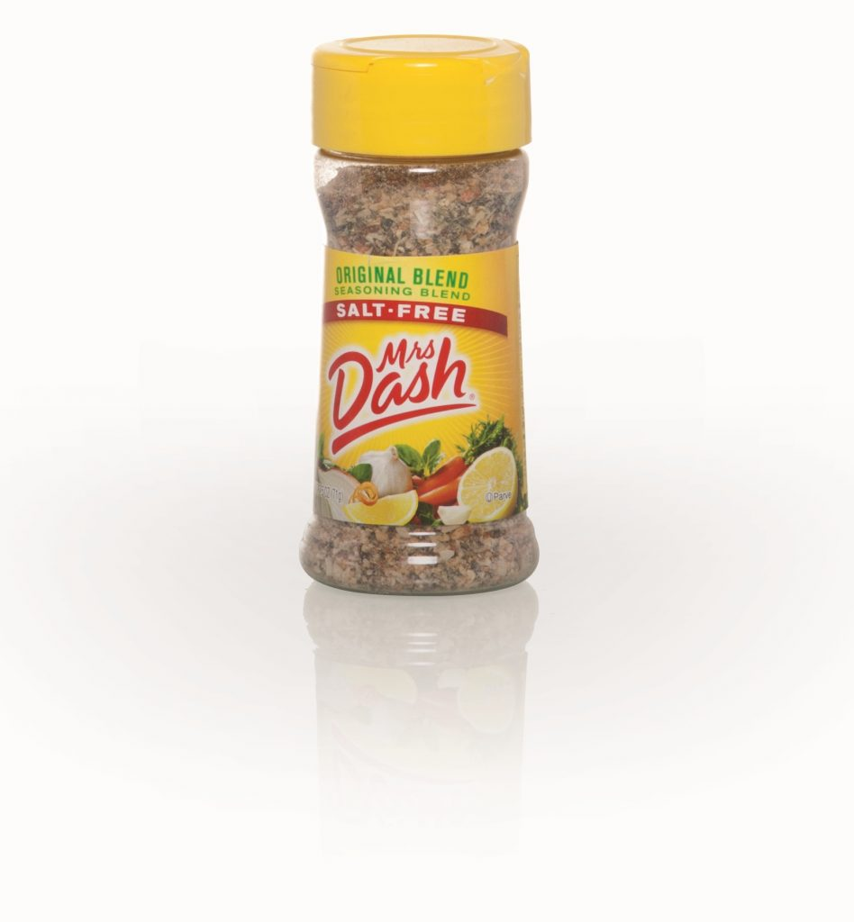 PET clear plastic bottle with screw top and Mrs. Dash label