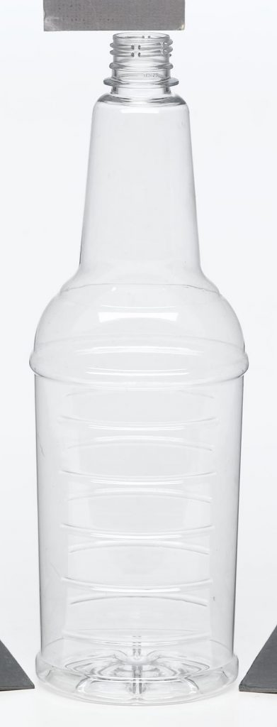food and beverage clear cylindrical container with screw top and ridges food safe