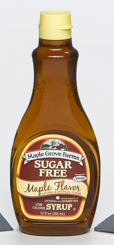food and beverage clear syrup container with Maple Grove Farms label food safe
