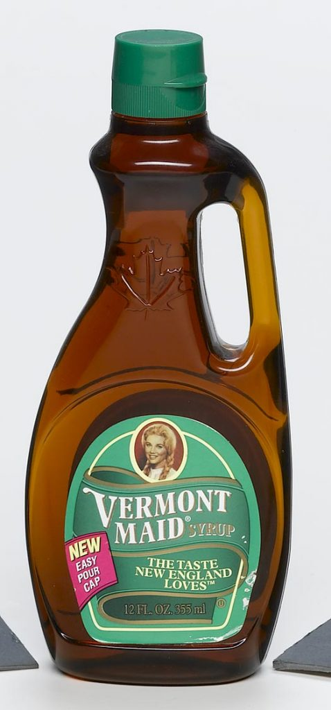 food and beverage clear plastic syrup container with handle and Vermont Maid label food safe