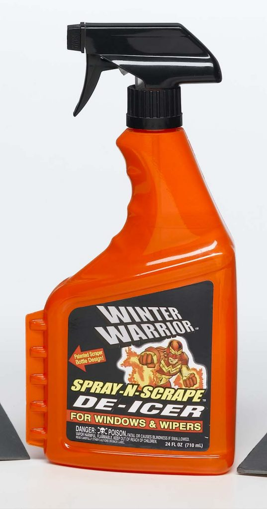household chemicals orange plastic spray bottle with scraper on the side with a Winter Warrior label