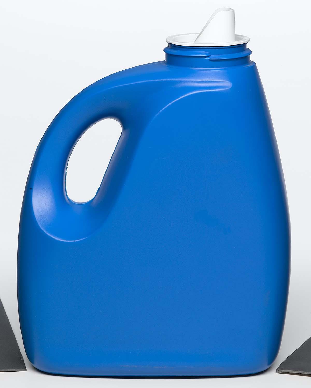 household chemicals blue plastic detergent bottle with pour cap