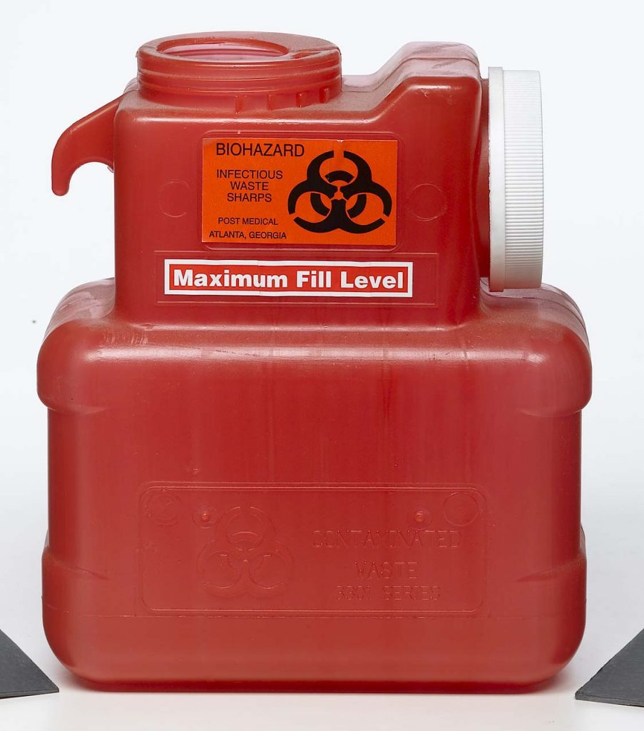 medical waste red plastic sharps container disposal