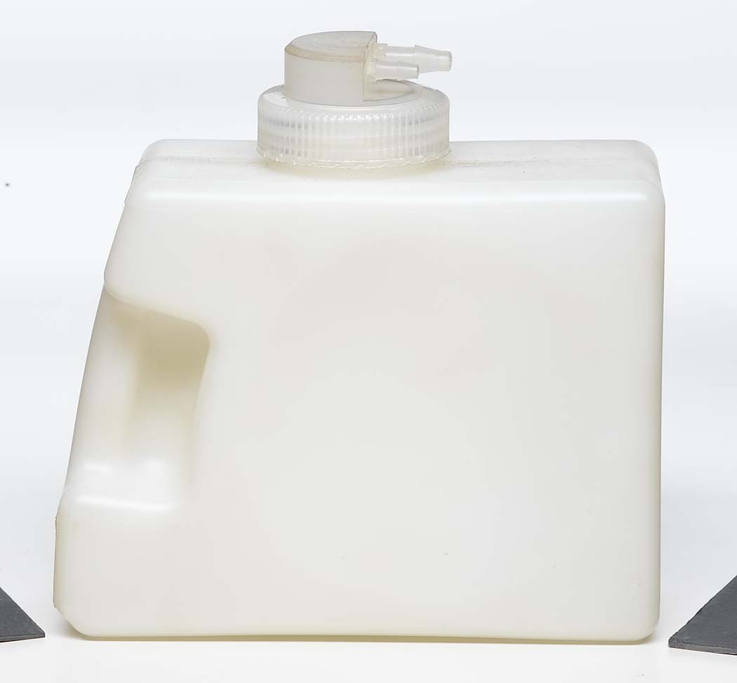 medical white plastic container with handle screw top and valve