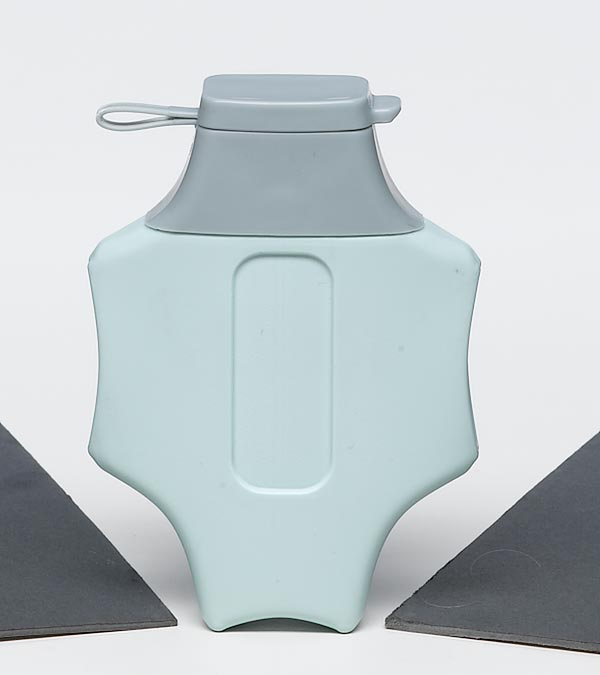 medical pill flask light blue and gray plastic with flip top