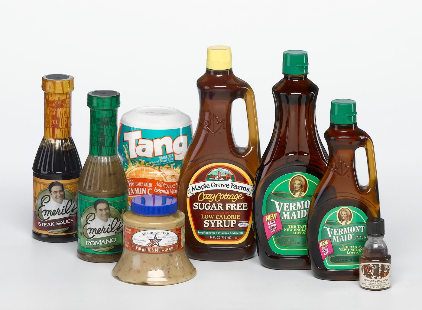 various food safe containers for food and beverages including syrup, dressing, sauce and Tang