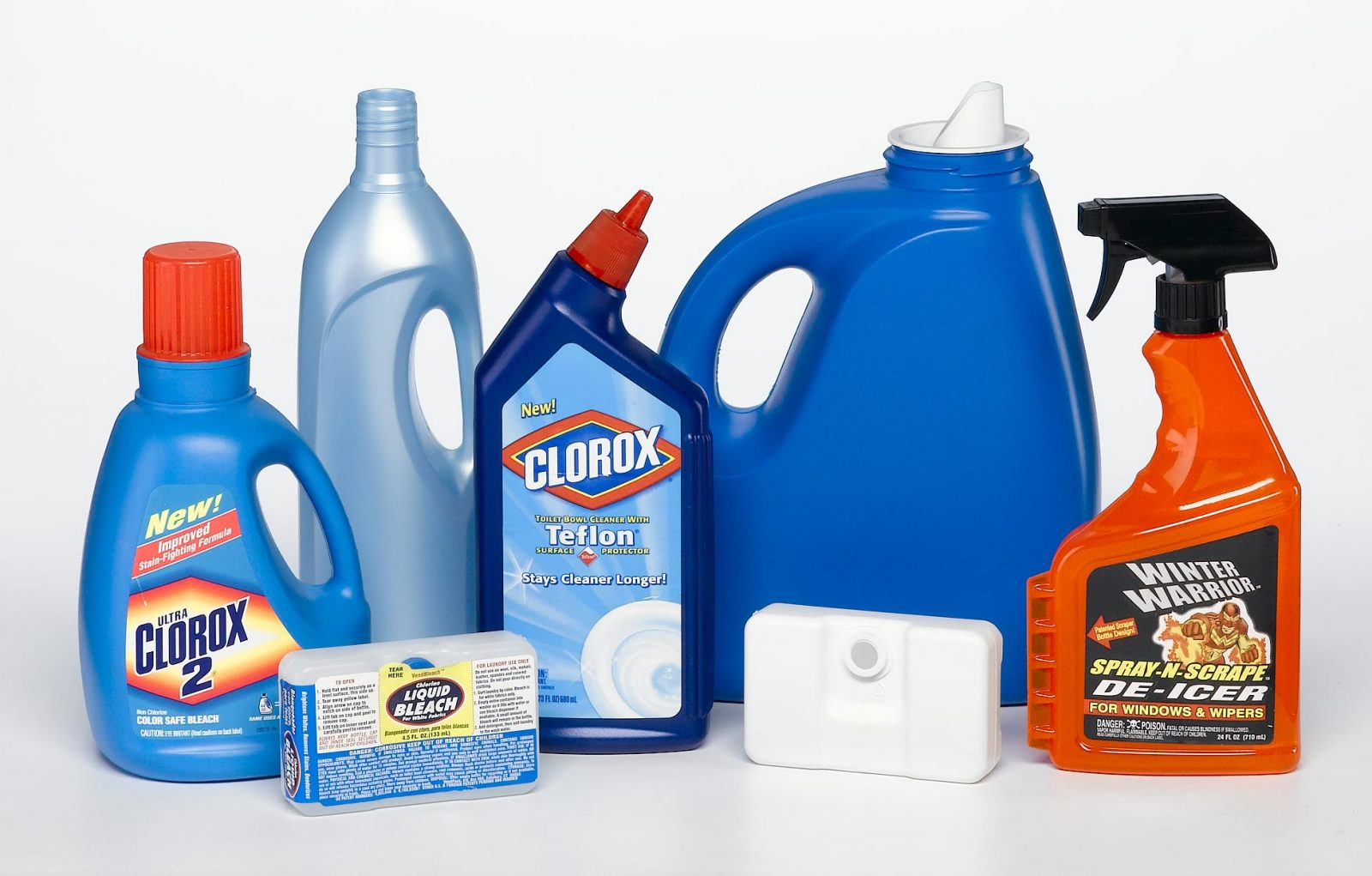 household chemicals various plastic pour bottles and spray bottles