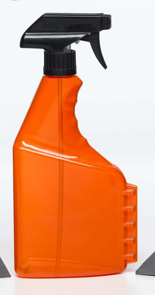 household chemicals orange plastic spray bottle with scraper on the side