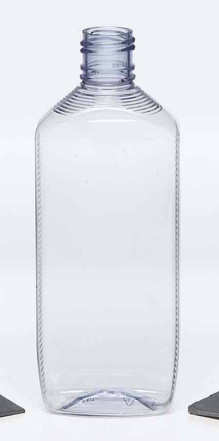 PET clear plastic bottle with side and top ridges and screw top