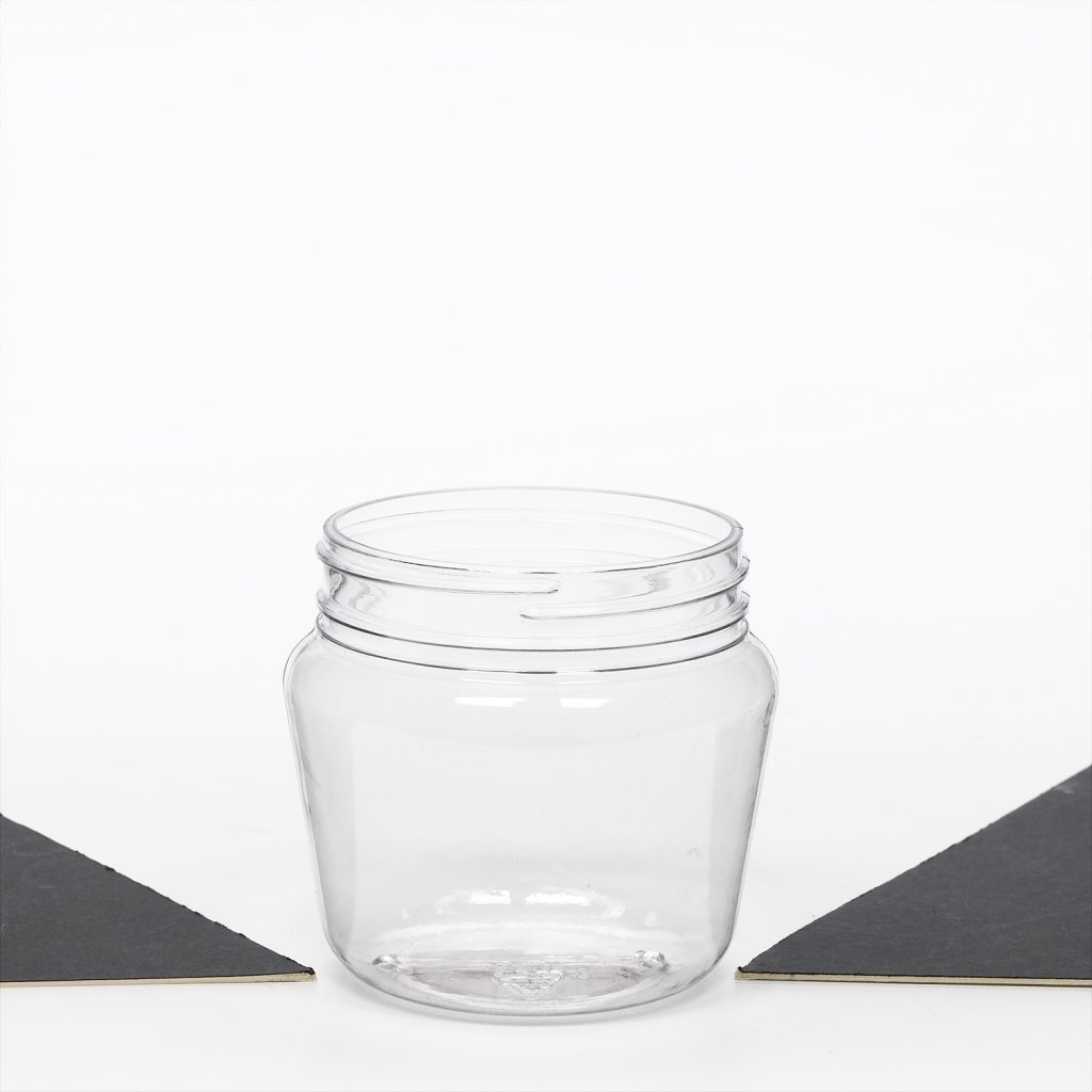food and beverage clear plastic jar with screw top food safe
