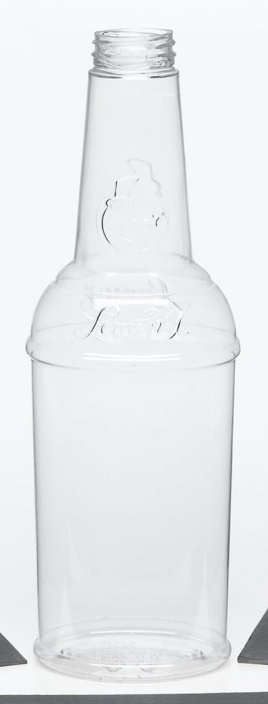 food and beverage clear plastic container with screw top and embossed detailing food safe