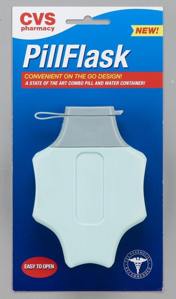 medical pill and water container light blue and gray plastic with flip top in CVS packaging