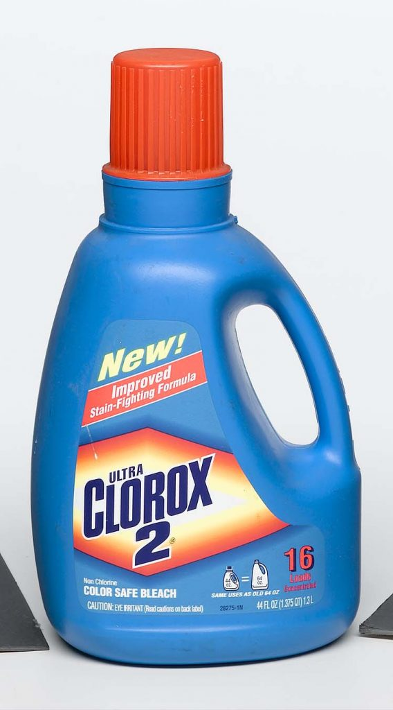 household chemicals blue plastic detergent bottle with pour cap with Clorox 2 label