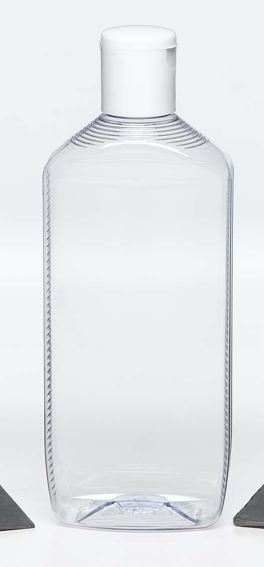 : PET clear plastic bottle with white screw top