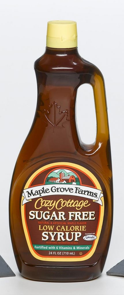 food and beverage clear plastic syrup container with handle and Maple Grove Farms label food safe